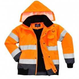 Blouson haute visibilité 4 en 1 orange