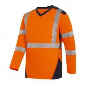 Tee-shirt haute visibilité Bali orange manche longue