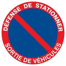 Signalétique «Défense de stationner sortie véhicule»