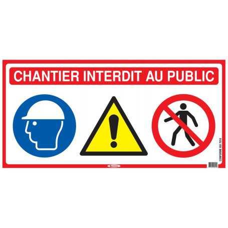 Panneau 4 en 1 «Chantier interdit »